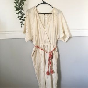 Anthropologie Soleil Cream Jumpsuit
